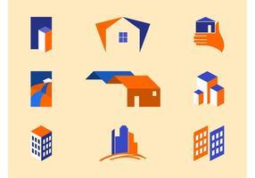 Modelos de logotipo imobiliário vetor