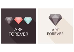 Os diamantes planos são para sempre fundo do vetor