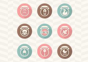 Coleção retro do vetor dos ícones do bebê