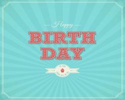 Vetor de fundo tipográfico de feliz aniversario retro