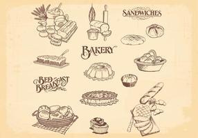 Vetores de pão de padaria desenhados à mão