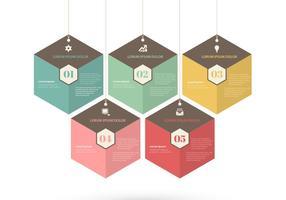 Conjunto de vetores de tags retrô hexágono