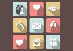 Conjunto de ícones de ícones de amor plano