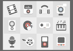 Conjunto de ícones de ícones multimídia planos