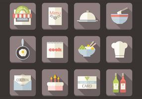 Conjunto de vetores de ícones de restaurante plano
