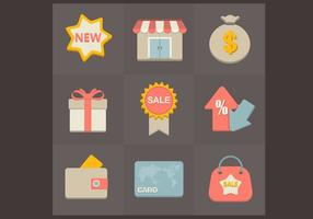 Conjunto de vetores de ícones de compras planos
