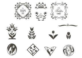 Conjunto de vetores de ornamentos de tulipas