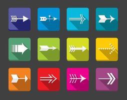 Conjunto de vetores de ícones de seta plana