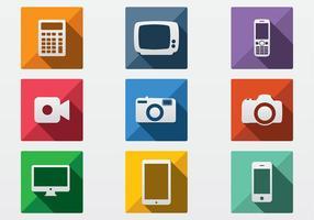 Vetores de ícone de tecnologia plana