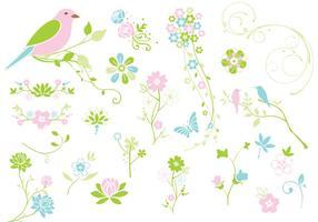 Pacote de vetores florais da primavera Flourishes