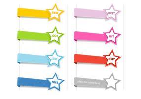 Coleção de vetores com etiquetas de estrelas costuradas