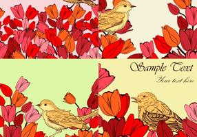 Vetor de fundos de pássaros floridos