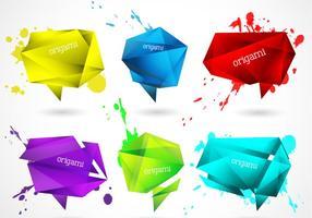 Splattered origami banners vector set