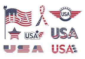 Coleção de vetor de elementos de bandeira EUA