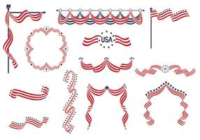 Pacote de vetores de banners de fita EUA