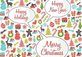 Retro feliz natal fundo do vetor