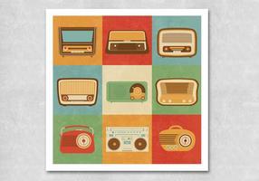 Retro Vectores de rádio vetor