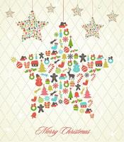 Retro hanging christmas star vector background