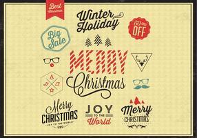 Conjunto de vetores de crachás de Natal colorido