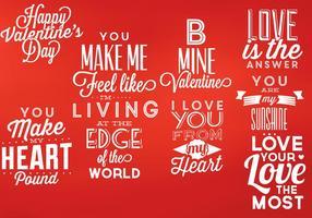Elementos de vetor tipográfico dos namorados