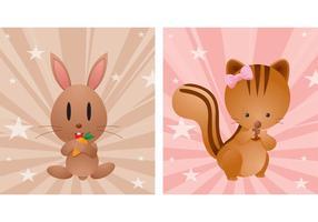 Vetores de animais bonitos de desenho animado