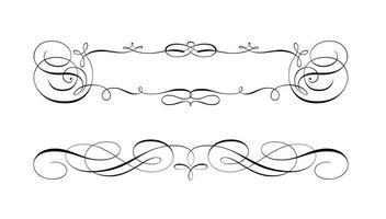Vetores de quadro e borda de rolagem swirly