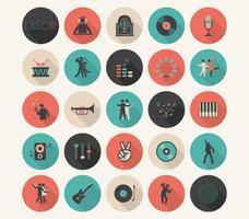 Conjunto de ícones de vetor de música plana