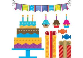Vetores de aniversário coloridos