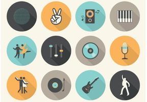 Ícones de música plana vetorial grátis