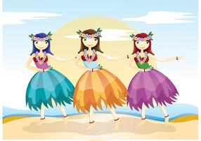 Vetores de menina Hula-hula