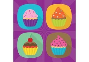 Ícones de vetor plana Cupcake