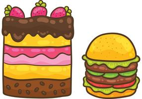 Vector do bolo e pacote do vetor do hamburguer