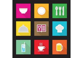 Ícones de vetor de cozinha plana