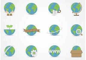 Ícones lisos de vetor de globo terrestre grátis