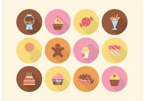 Ícones de vetores de bolo e doces grátis