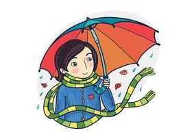 Menina vector livre com guarda-chuva