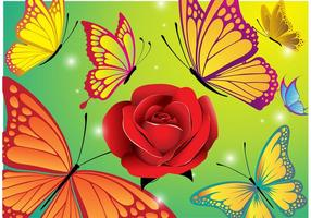 Fundo de vetor de flores e borboletas