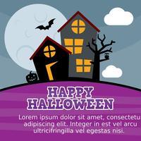 Cartão assombrado do vetor da casa assombrada do Dia das Bruxas