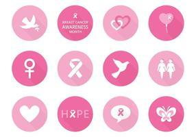 Ícones de vetor de conscientização do câncer de mama