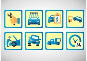Conjunto de ícones de vetores de reparação de carros