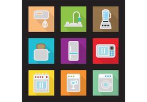Ícones planos do vetor da cozinha moderna