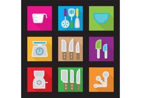 Ícones planos do vetor da cozinha