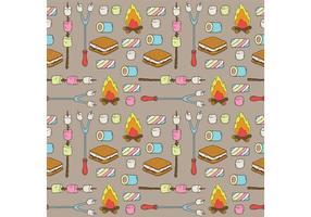 Padrão de vetor de marshmallows de acampamento livre