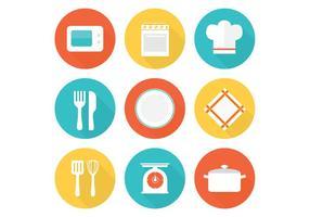 Ícones de vetores de cozinha plana grátis