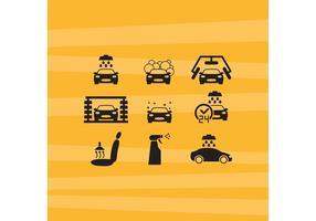 Ícones de vetor de lavagem de carro