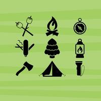 Ícones de vetor de acampamento