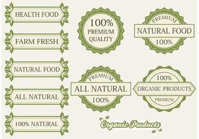 Etiquetas e emblemas de produtos orgânicos vetor