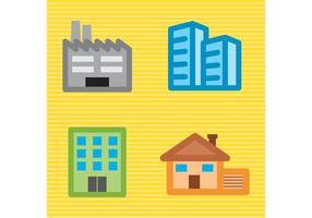 Pacote de construção de edifícios de construção vetor