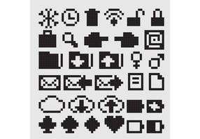Ícones vetoriais negros de 8 bits
