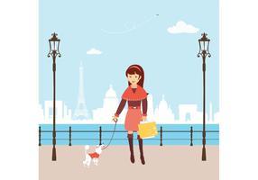 Free Vector Shopping Girl em Paris